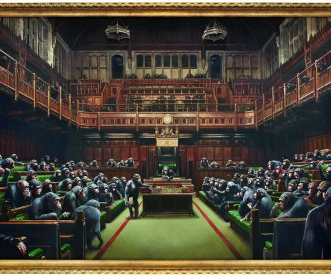 Has Banksy altered 'Devolved Parliament'?