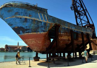 """Concerns grow as """"Barca Nostra"""", made of the wreckage that killed hundreds, overstays its welcome in Venice"""