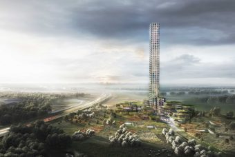 Europe's tallest skyscraper in the making and in the countryside