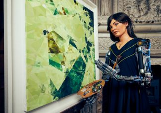 AI robot Ai-Da presents her original artworks in exhibition