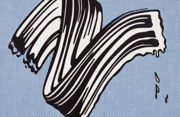 A Lichtenstein brushstroke canvas is set to be part of Sotheby's first live auction in months